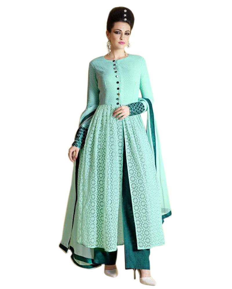 Naksh - Magnificent Anarkali Style Suit With Sky Blue Yoke And Khadi ...