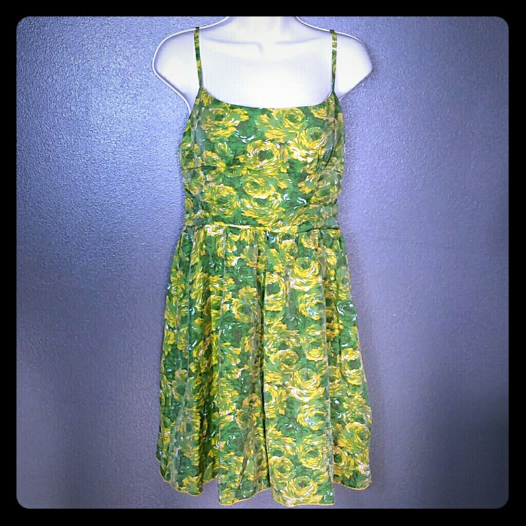 Retro green u yellow floral pin up cocktail dress products