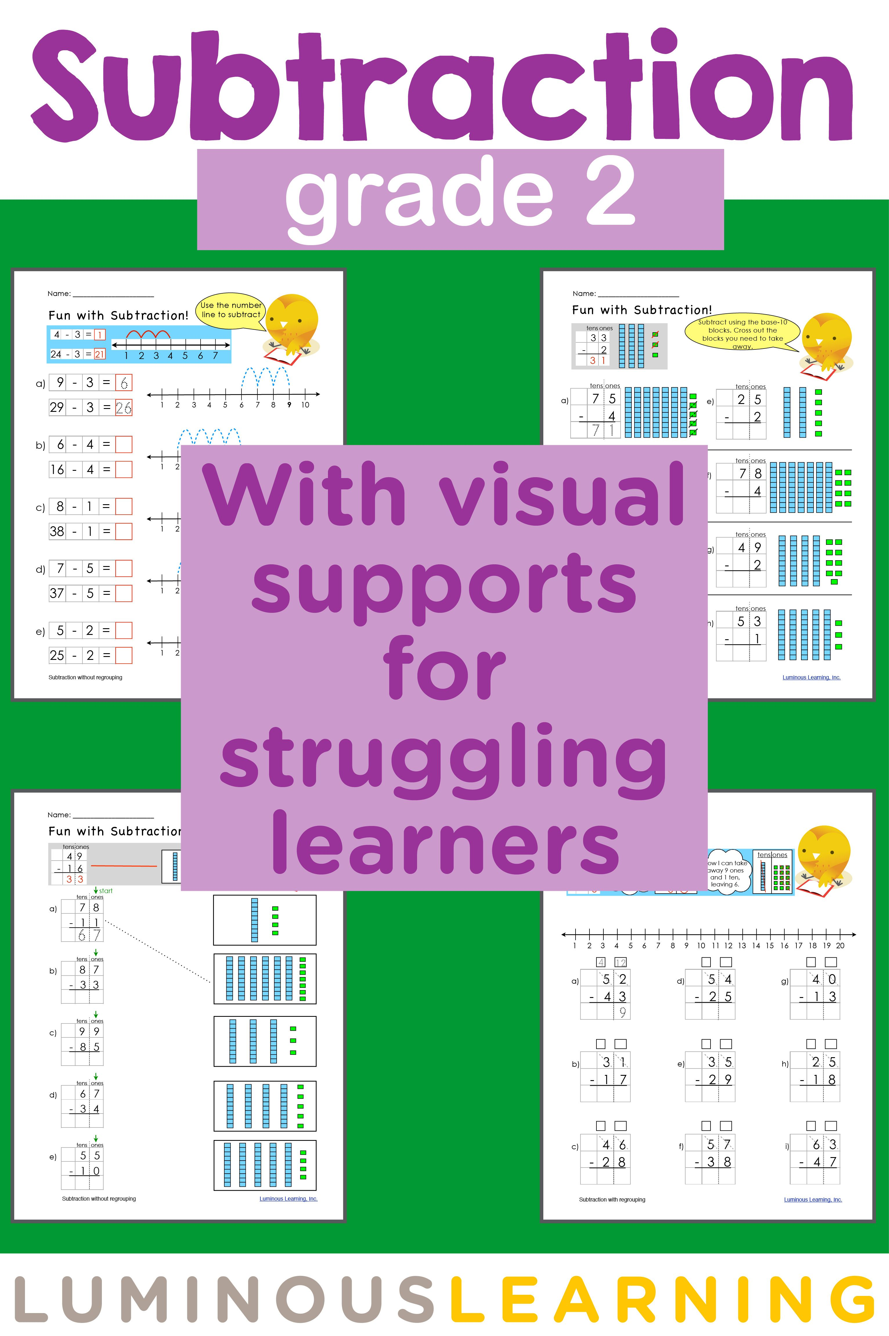Grade 2 Subtraction Printable Workbook | Pinterest | Visual aids ...