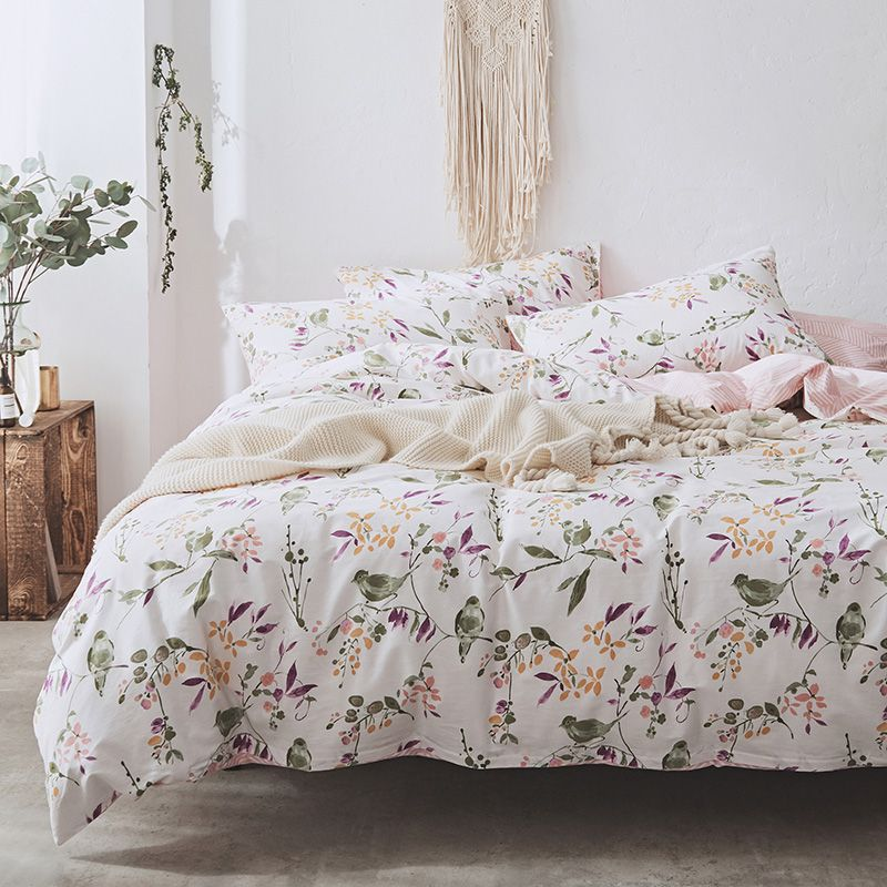 Flower Branches Quilt Bed Cover Cotton Bedding Queen Size Bed