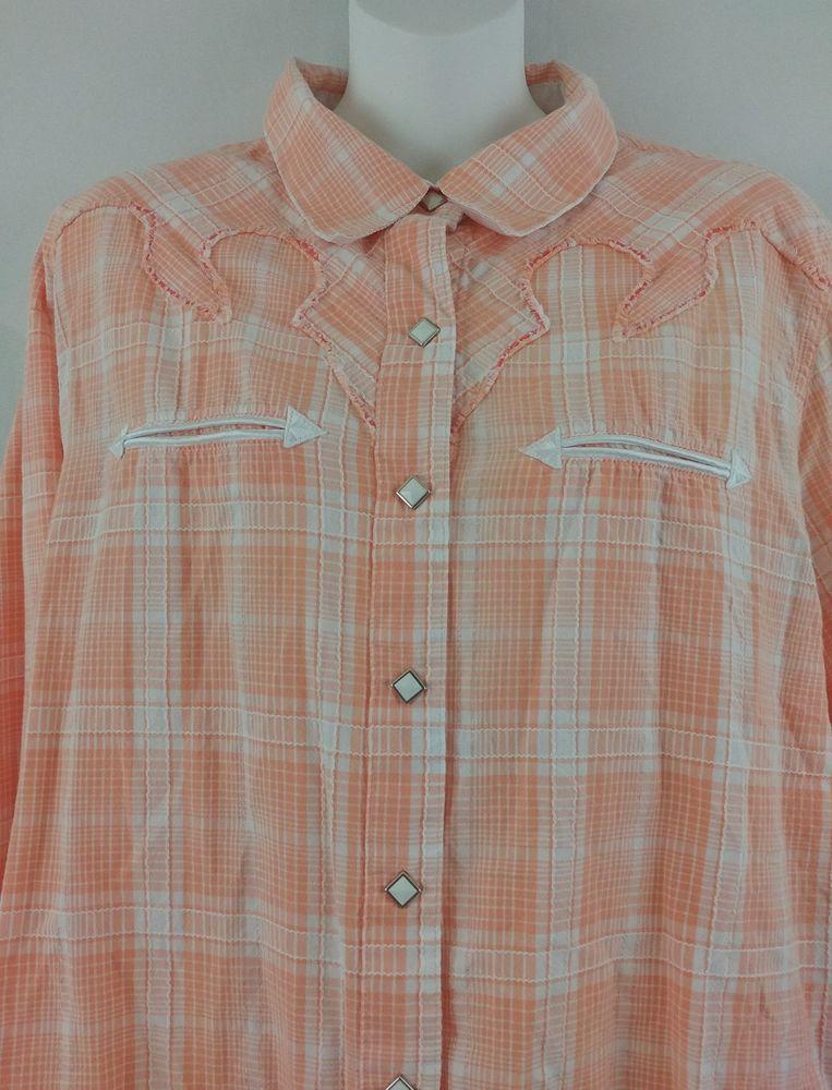 5c5fe904 Cruel Girl Women's XXL Peach Plaid Western Diamond Pearl Snap Cowgirl Rodeo  Top   eBay