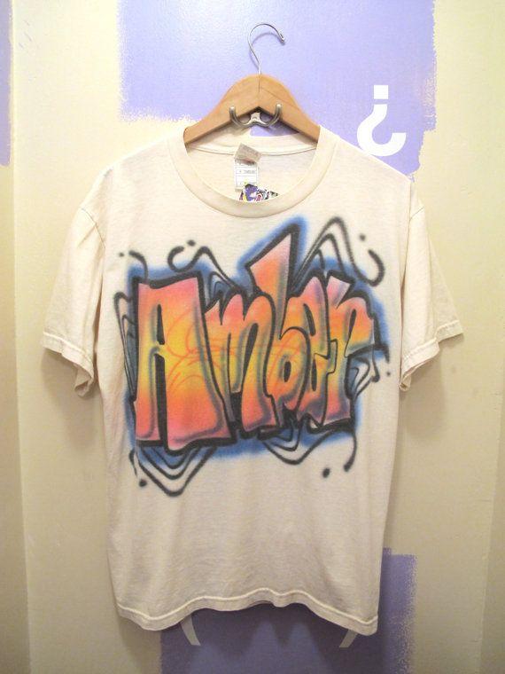 d7251c7fa Vintage Airbrushed Amber Ladies T Shirt 90s Size by kokorokoko, $16.00