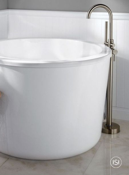 deep freestanding soaking tub. Escape The Cold While Relaxing In This Round Freestanding Soaking Tub  Your Own Home Its Integral Seat And A Deep Interior Create Spa Like Atmosphere 47 Caruso Acrylic Japanese Soaking Tub Tubs Spa