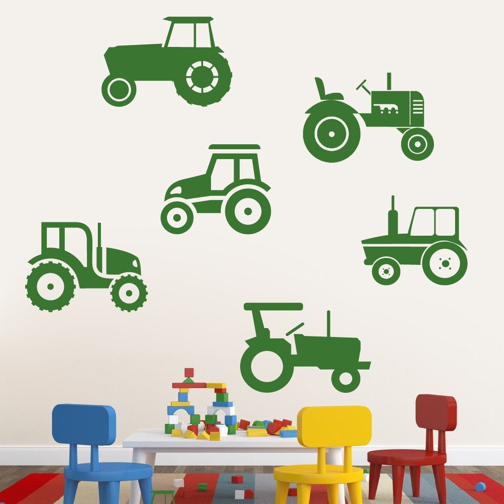Set Of Tractors Wall Decals Home Decor Wall Decals Farm Wall Decals Farm Wall Stickers Nursery Wall Decals