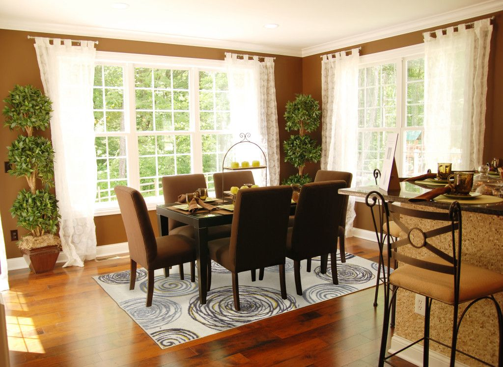 Fascinating Brown Dining Room Theme Color With White Window Curtains Also Rose Area Rug Pattern D With Images Dining Room Rug Rug Under Dining Table Dining Room Rug Size