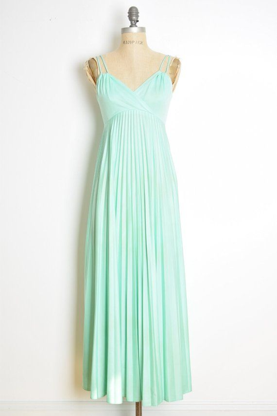 c96fdf58127 vintage 70s prom dress mint green pleated empire waist disco long maxi gown  XS