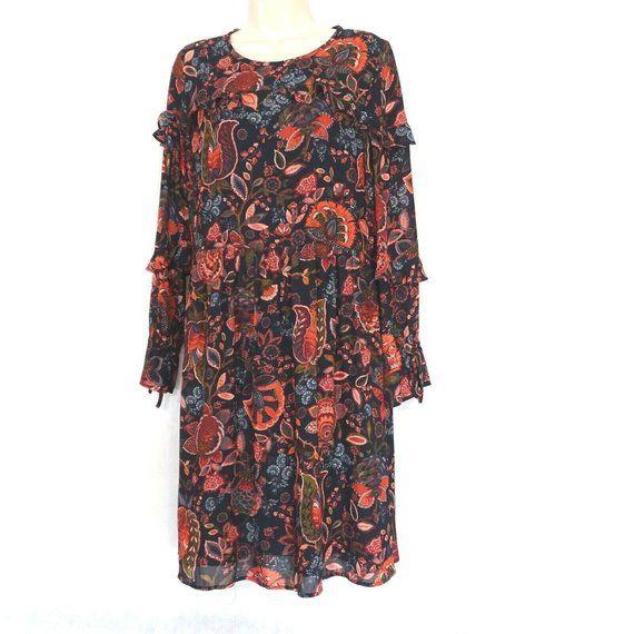 Ann Taylor Loft Ruffle Drop Waist Dress Women Size 8 Black
