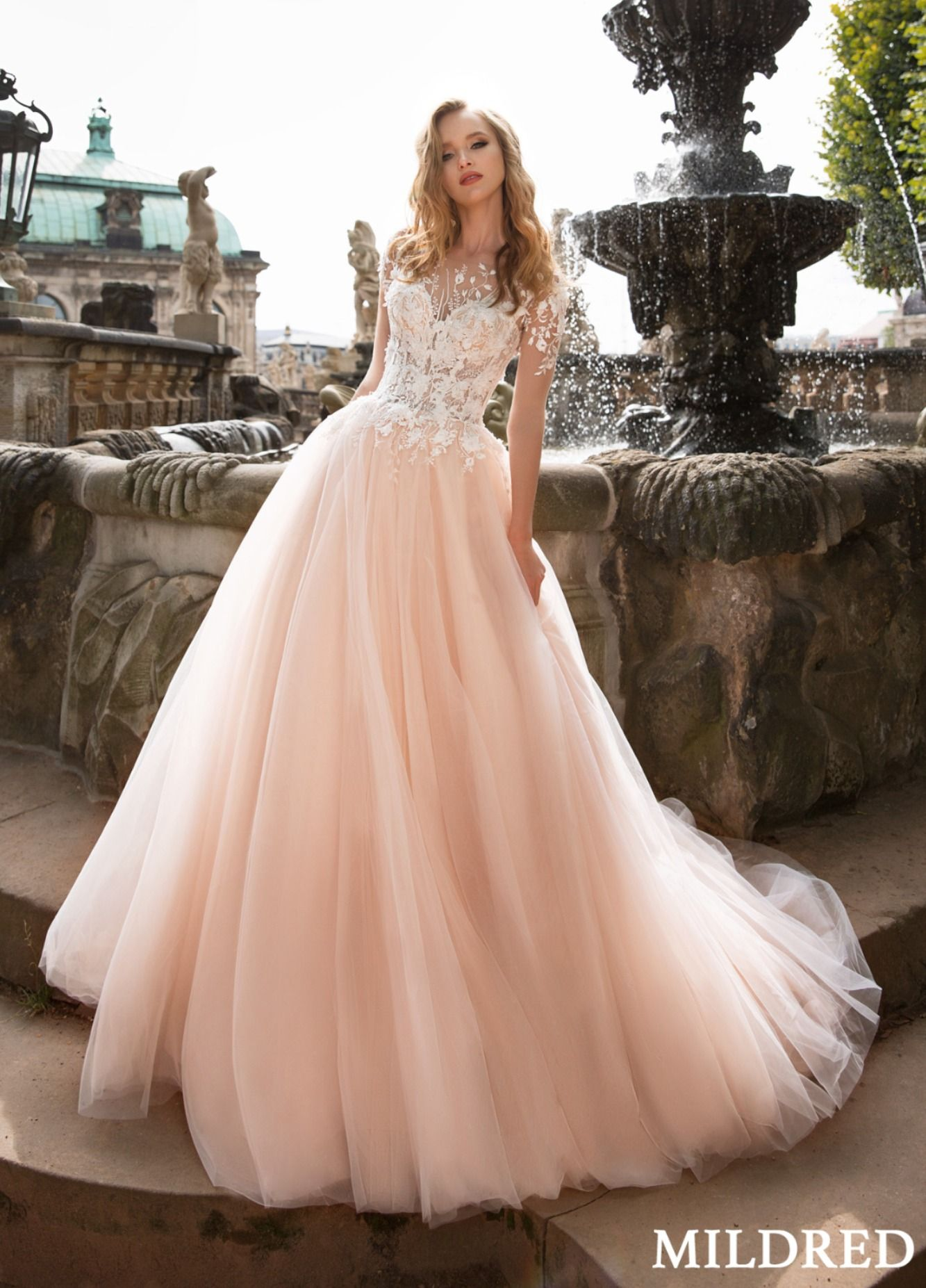 Mildred Wedding Dress Royal Promenade Collection Blush Pink Wedding Dress Light Pink Wedding Dress Modest Bridal Dresses [ 1853 x 1333 Pixel ]