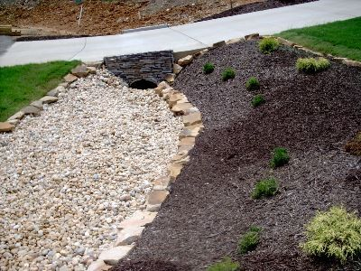 Drainage Ditches With Some Lovely Stone And Landscape We Use Hardwood Landscaping With Rocks Backyard Landscaping Backyard Landscaping Designs