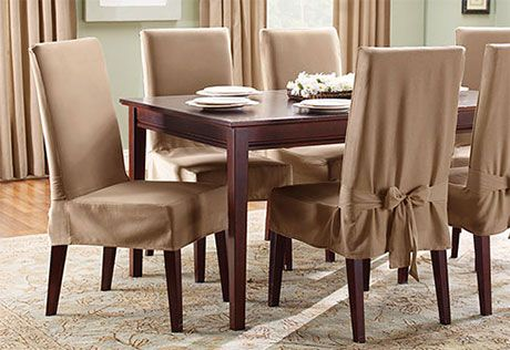 Sure Fit Slipcovers Cotton Duck Short Dining Chair Cover