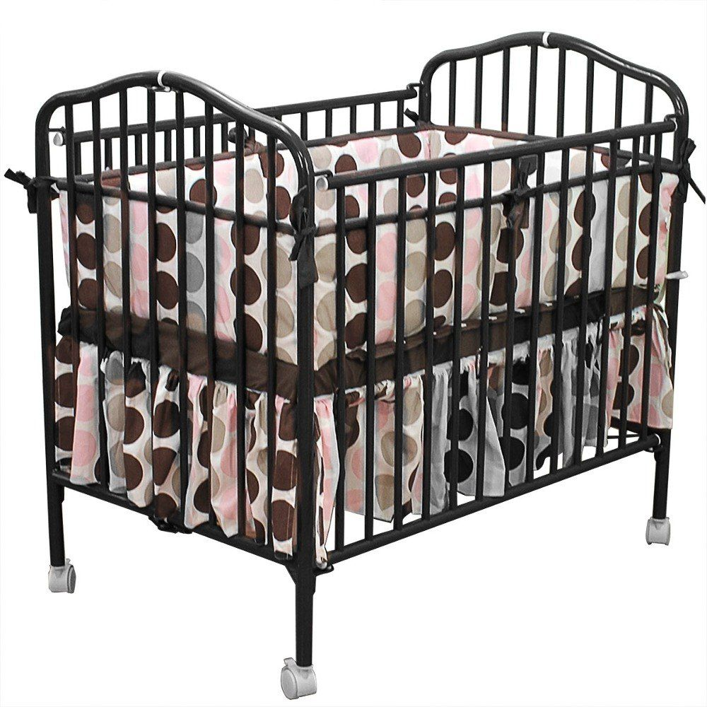 Black Metal Folding Crib With 2 Flame Retardant Mattress | Baby ...
