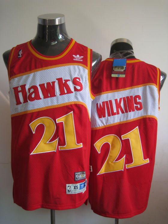 56a8e1cccc03 Hawks  21 Dominique Wilkins Red Stitched Throwback NBA Jersey
