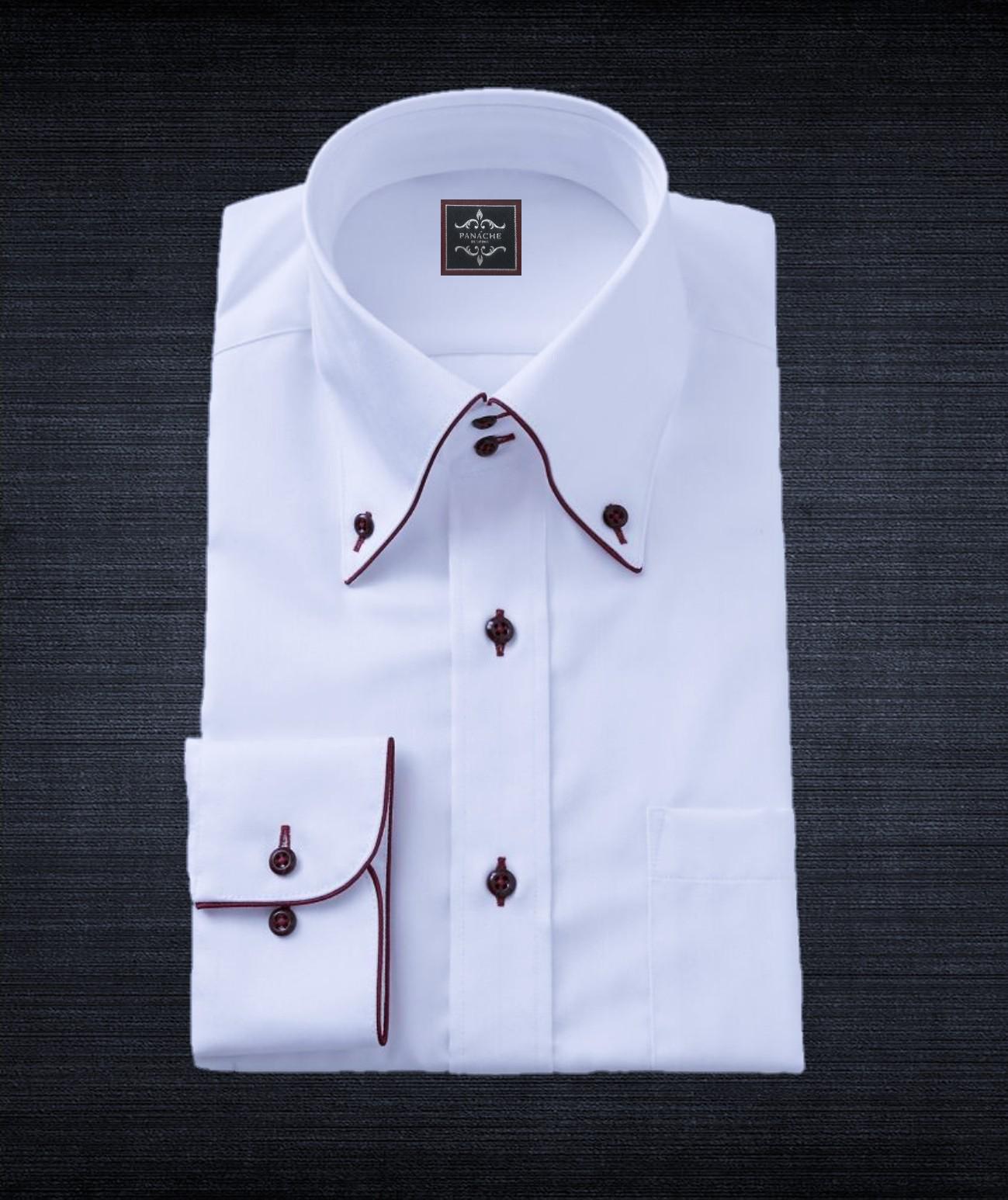 White Broadcloth Shirt Button Down Big Collar Panache Bespoke Mens Shirt Dress Shirts Custom Dress Shirts