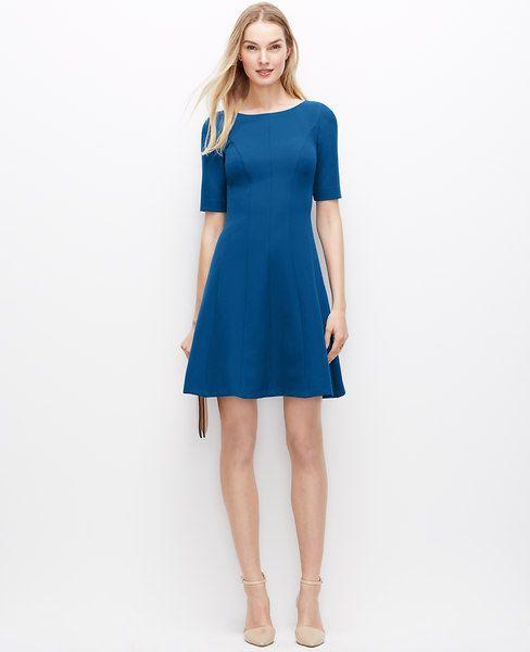 Ann Taylor Seamed Flare Dress Anntaylor Cloth Dress