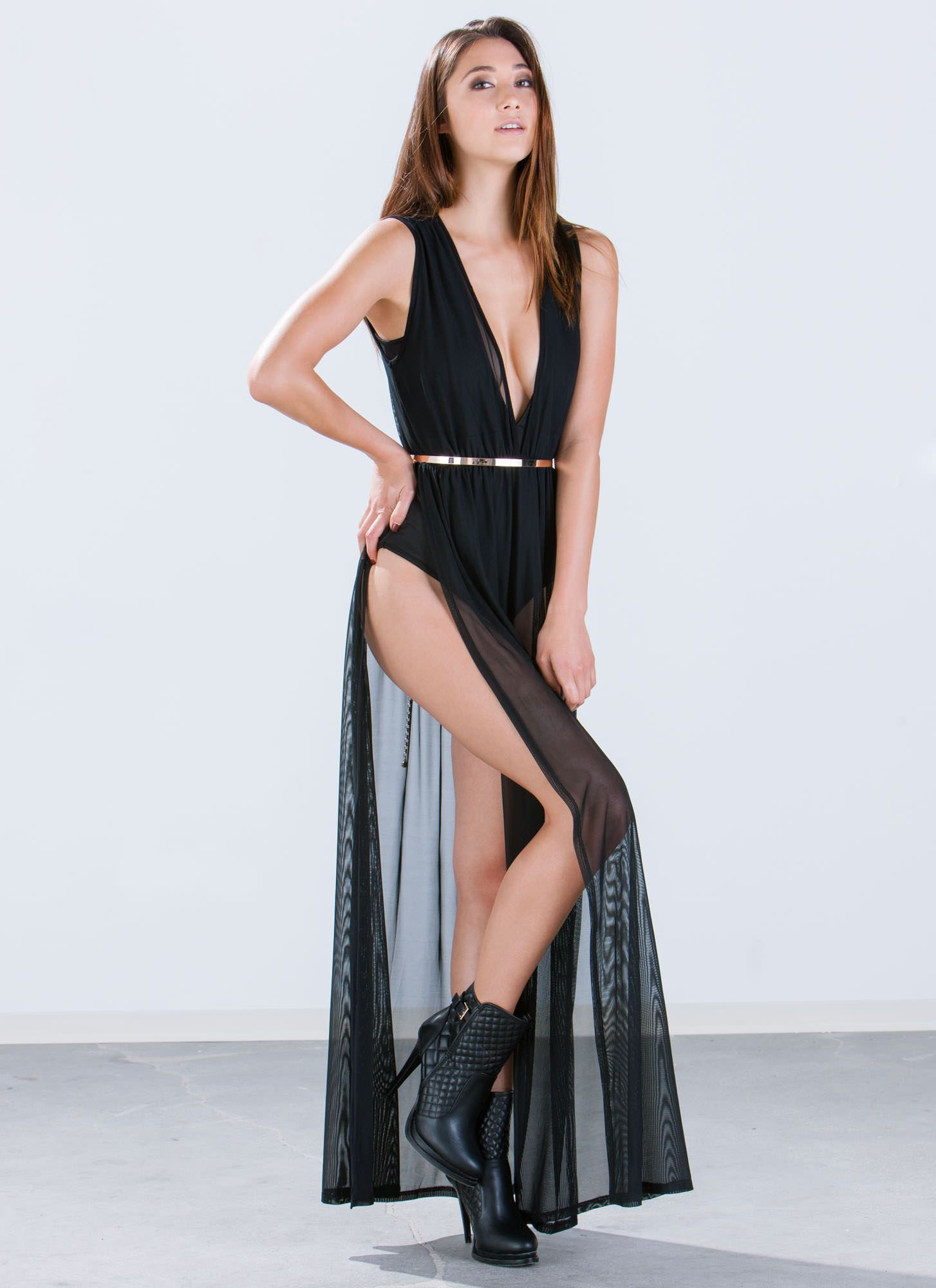 c6a7b9b5e62 Black Mesh Bodysuit Maxi Dress - Gomes Weine AG
