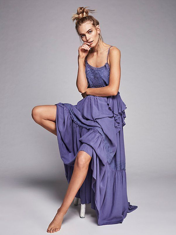 Bohemian Style Purple Spaghetti Strap Hollow Out Embroidered Maxi ...