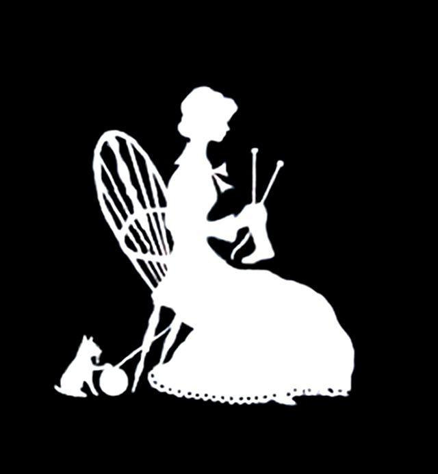 Silhouette of Girl Knitting