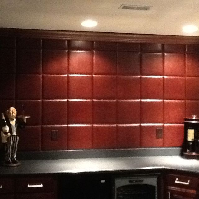 Faux leather wall tiles truly finish off the basement bar for Faux leather floor tiles
