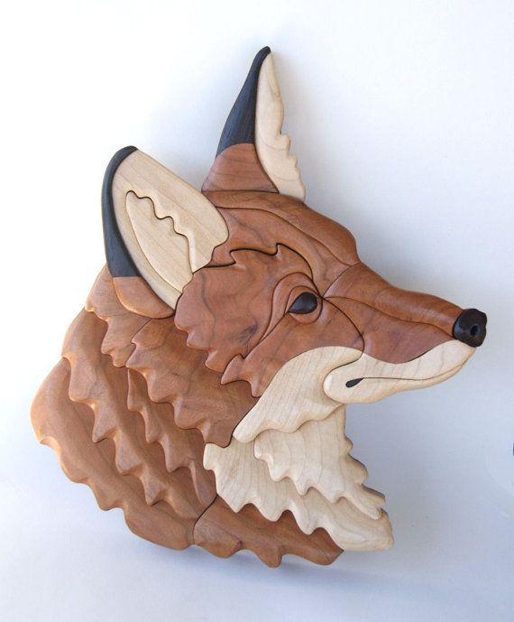 fox intarsia wall hanging por entwoodcrafts en etsy. Black Bedroom Furniture Sets. Home Design Ideas