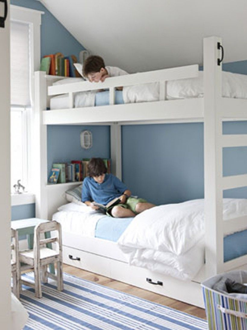 Kids Bedroom White Bunk Beds Boys Room With Extra Storage