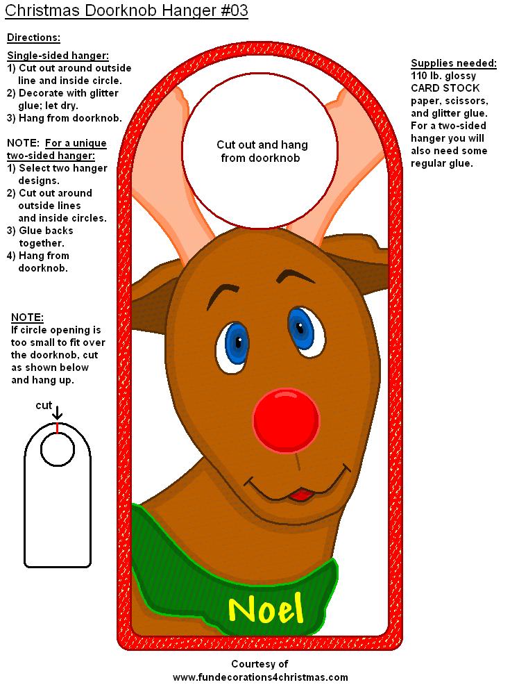 Printable Reindeer Door Hanger With Images Doorknob Hangers Door Hanger Template