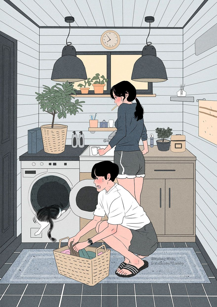 Korean Artist Illustrates The Daily Life Of A Loving Couple In An Intimate Way