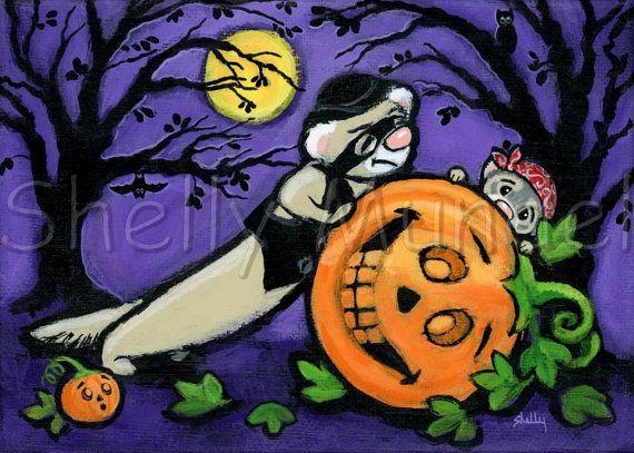 Ferret Thieves  Original Halloween Spooky by ShellyMundelArt