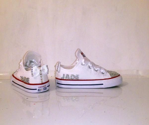 73cb0eecdcc Kids Girls Sparkly White Converse All Stars Bling Flower Girl Personalized  Shoes - Glitter Shoe Co