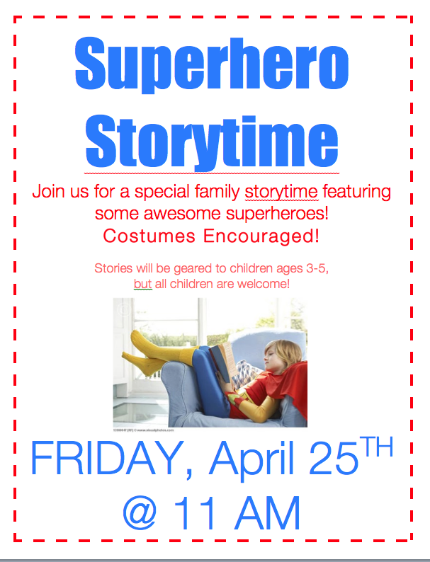 Superhero Storytime at the Westwood Public Library...