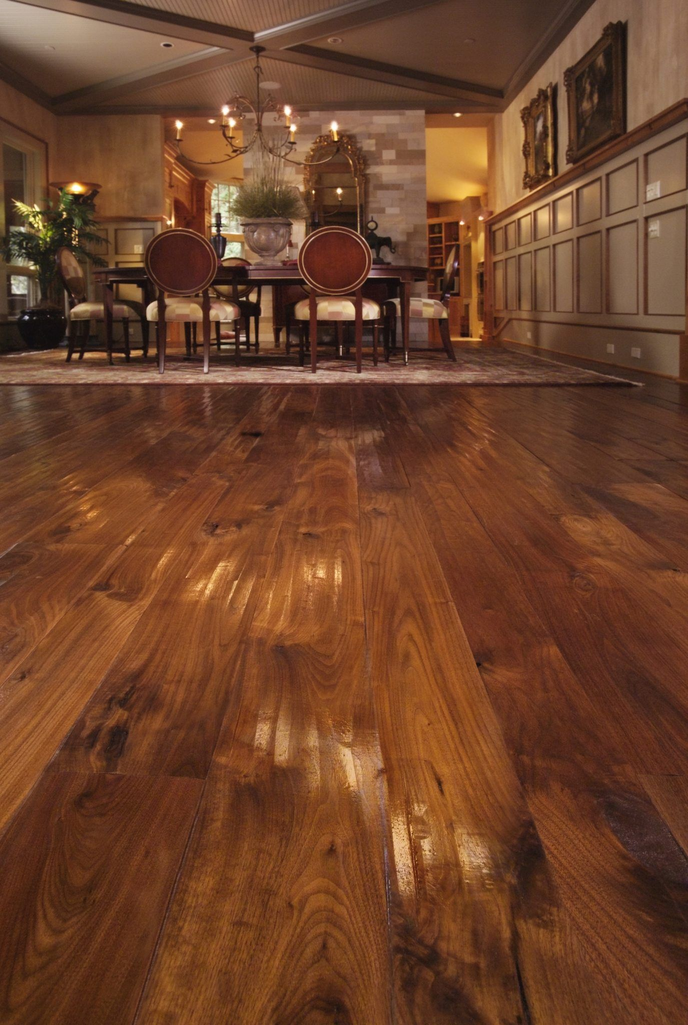 Carlisle Wide Plank Floors Walnut Flooring in a Dining Room The