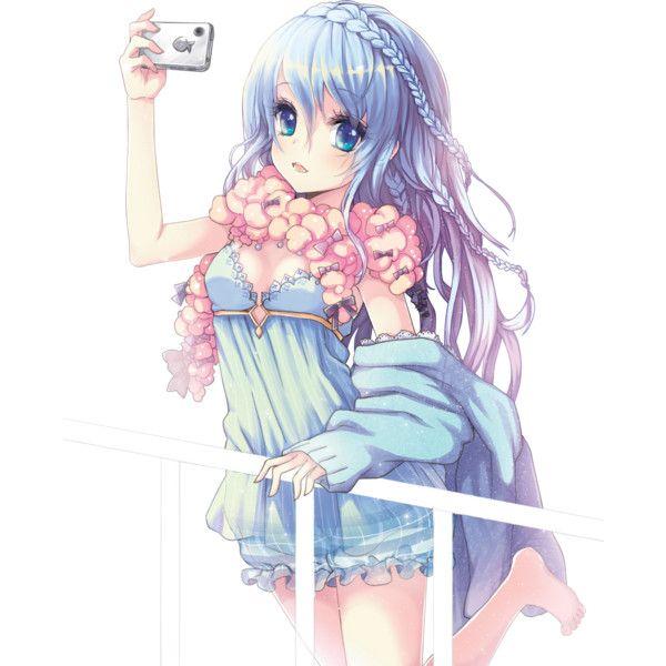 Render Fille Bleu Rose Telephone Smartphone Photo Echarpe