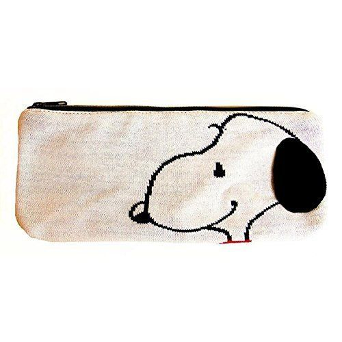 New Pen Pencil Knit Pouch Vintage SNOOPY Peanuts White Case Storage Bag Gift