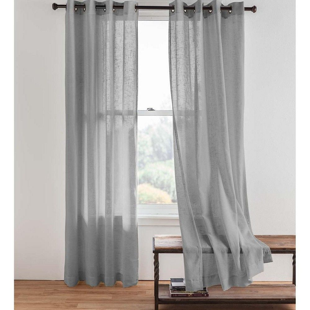Single Sheer Linen Window Curtain Panel With Grommets Gray Plow Hearth Upholstery Fabric For Chairs Panel