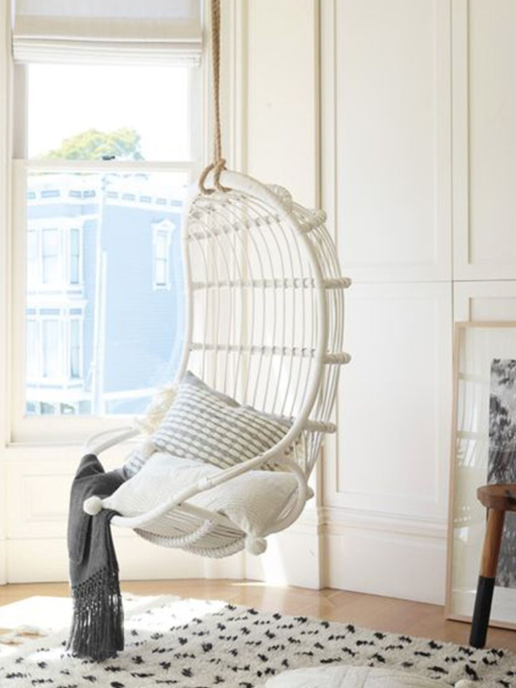 Kouboo Hanging Swing Chair: White in 4  Hanging chair, Diy