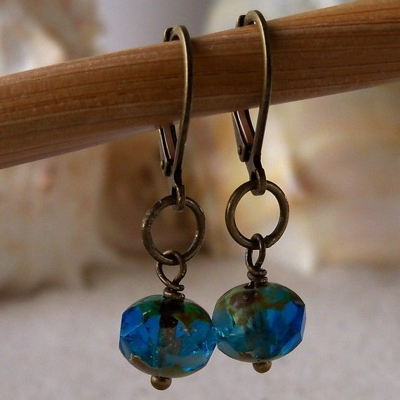Sea Blue and Antique Brass Dangle Earrings by mompotter on Etsy