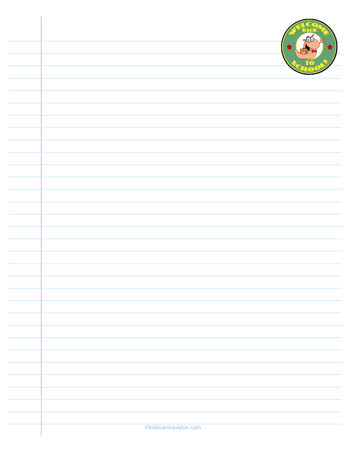 Welcome Back To School Ruled Paper With Bookworm