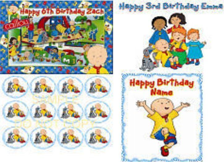 Edible cake cupcakes image caillou icing sheet birthday more party