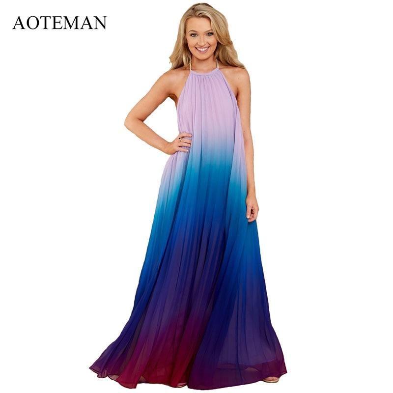 6a695bde384e3 AOTEMAN Summer Dress Women 2019 Sexy Backless A-Line Halter Chiffon ...