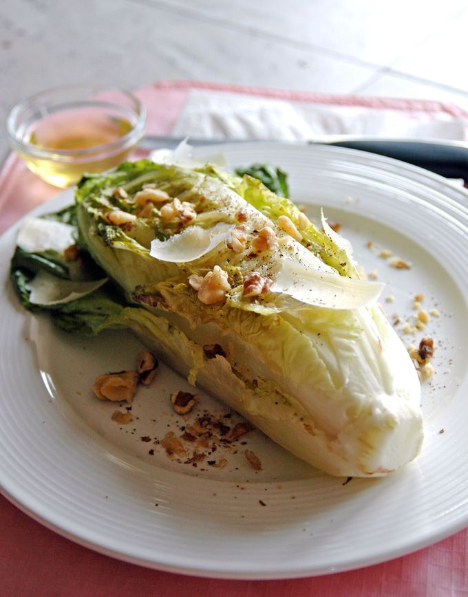 Grilled Romaine with Toasted Walnuts and Parmesan - Smoky, delicious and gluten free!
