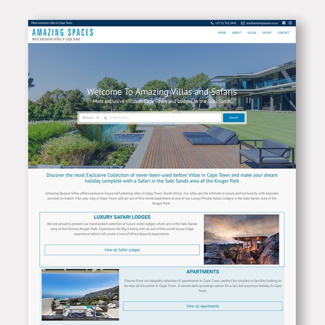 Web Design Inspiration Client Amazingspacesvillas Http Amazingspacesvillas Co Za Dm In 2020 Wordpress Website Design Web Design Inspiration Web Design