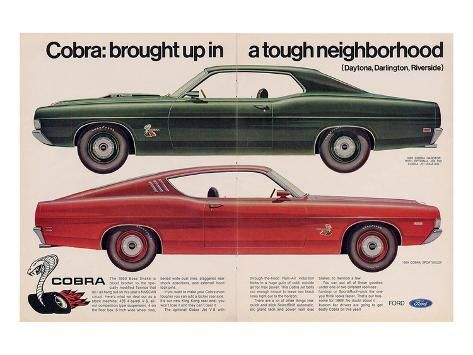 Ford 1969 Cobra Sportsroof Premium Giclee Print Art Com In 2020 Ford Cobra Ford Classic Cars
