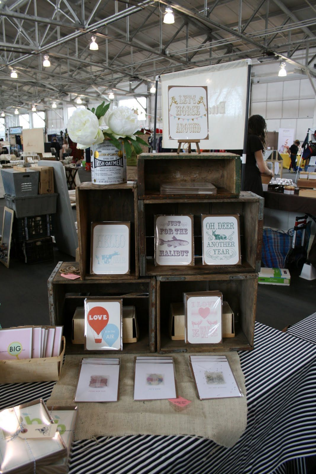 booth display wood crates