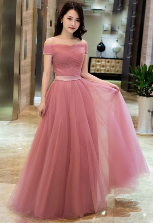 Elegant Pink A line Off Shoulder Prom Dresses 1b5a701e0979