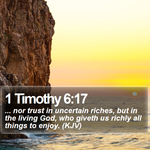 Daily Bible Quotes Text: ... Nor Trust In Uncertain Riches, But In