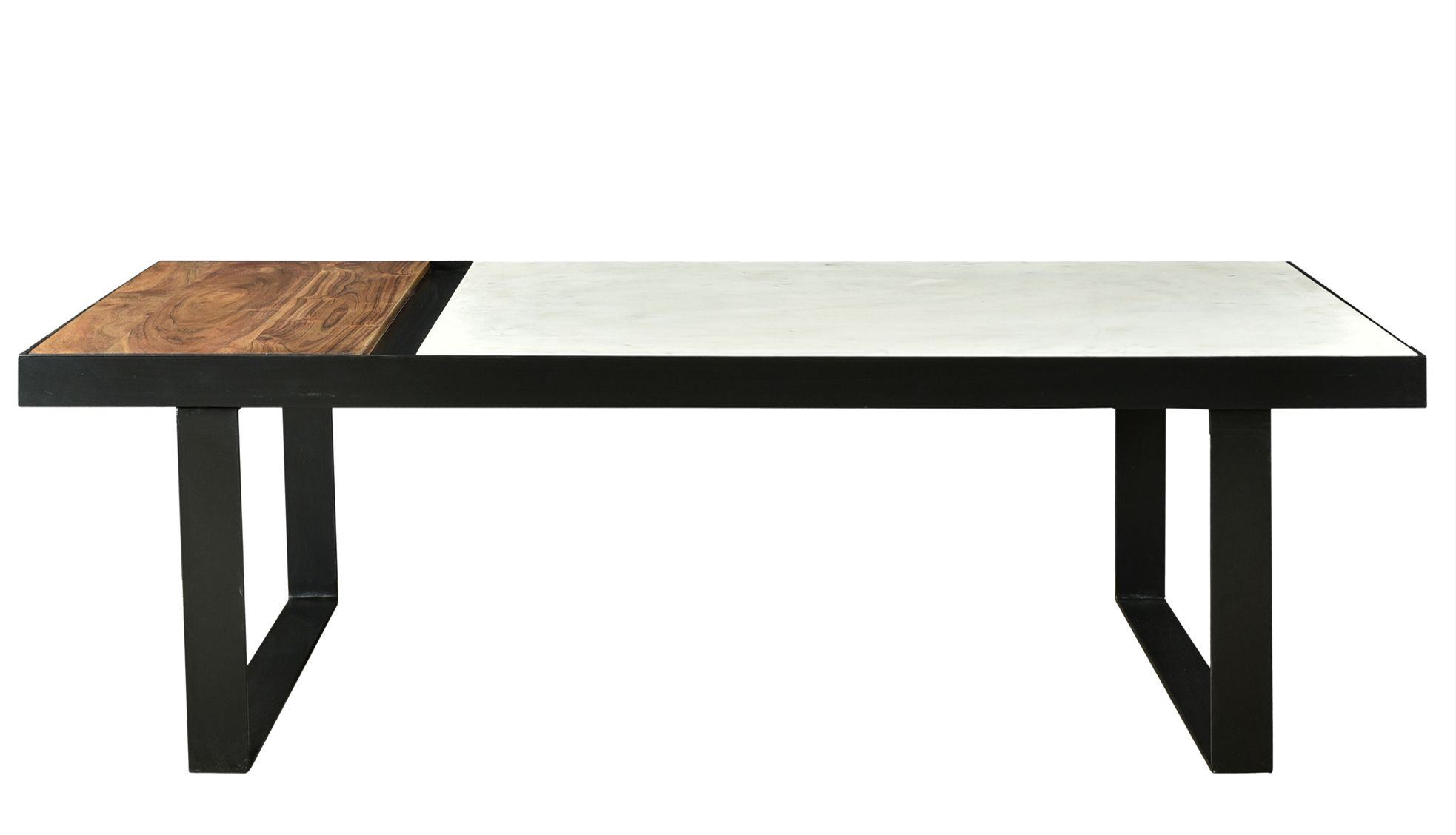 The karen collection features three unique materials of marble acacia and iron creating an