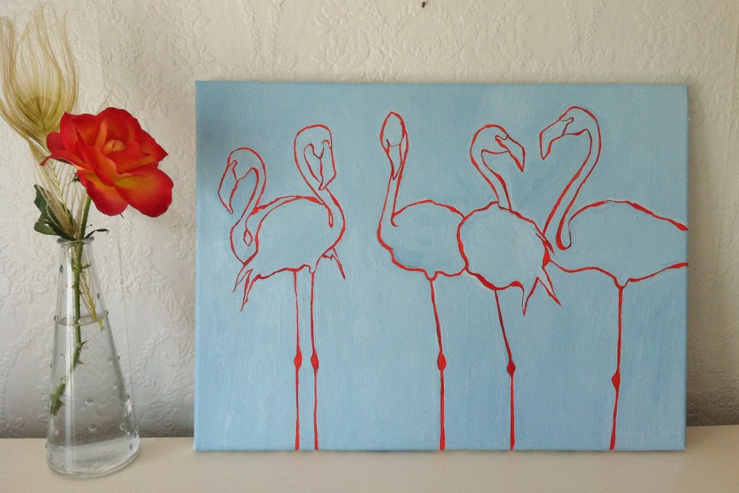 A personal favorite from my Etsy shop https://www.etsy.com/listing/252526836/original-oil-painting-flamingos-blue-and