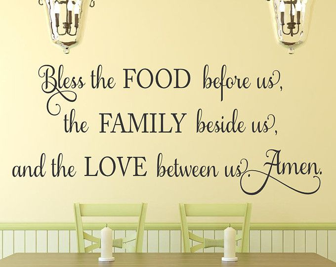 Kitchen Wall Decal Bless The Food Before Us Quote Dining Room Religious