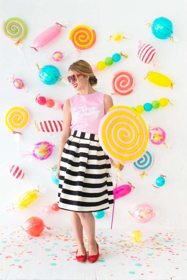 candy balloon party backdrop oh happy day candy shop pinterest. Black Bedroom Furniture Sets. Home Design Ideas