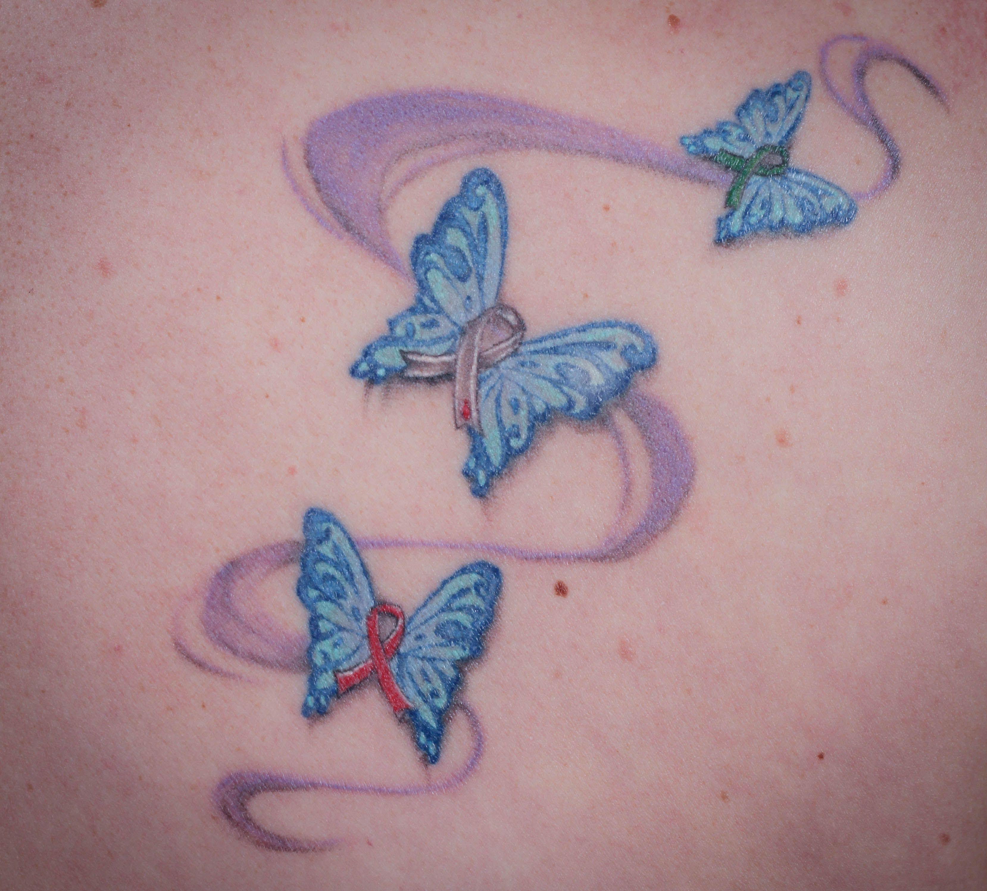 Awareness Ribbon Butterfly Tattoo Rainbow Butterfly Tattoos And Ribbons Cancer Ribbon Tattoos Tattoo Sites Tattoos