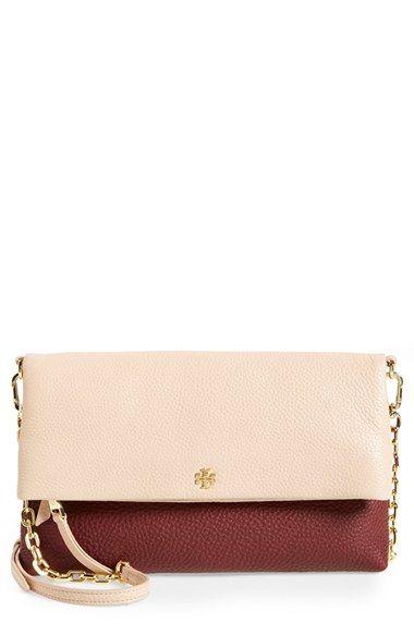 96862d43e7e  395- color  deep berry light oak -- Tory Burch Foldover Crossbody Bag